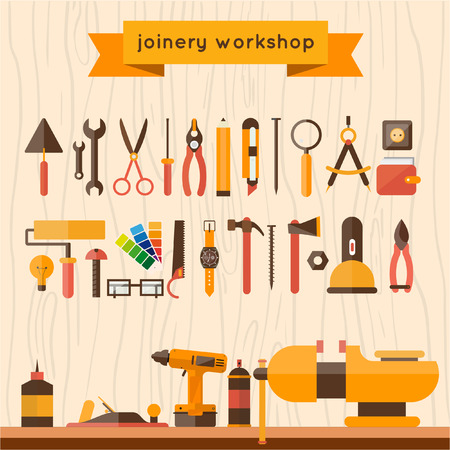 WORK ICONS: Carpentry. Construction hardware tools.Tree texture background. Vector color flat illustrations.