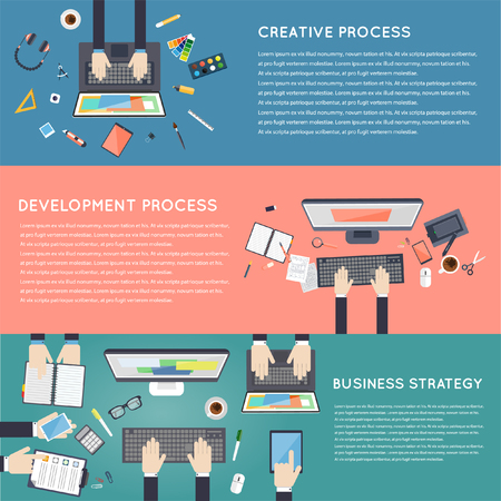 development process: Team work. Business strategy planning analytics management consulting meeting career. Designer workspace with tools and devices. Development process. Top view. Flat design illustration. Banners.