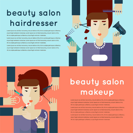cutting hair: Woman at beauty salon. Hands cutting hair and applying makeup on a woman head. Haircut. Beauty. Hairdressing. Hair coloring. Makeup. 2 Banners for websites. Flat design.