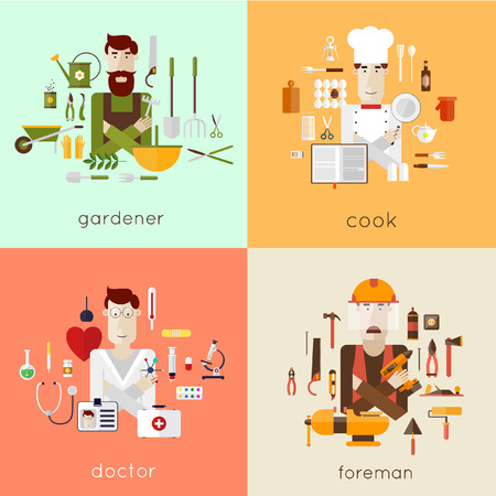 doctor gloves: Set of different people professions characters with tools icons. Gardener cook doctor foreman. Set of vector illustration in modern flat style. Illustration