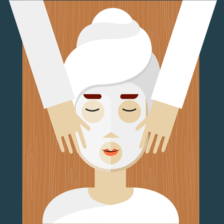 beauty spa: Woman on spa procedures. Hands applying mask. Vector illustration in flat design.