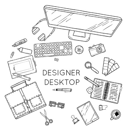vector illustration: Designer workspace with tools and devices. Handdrawn.