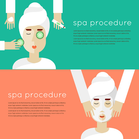 applying: Woman on spa procedures. Hands applying cream. Spa banner. Vector illustration in flat design. Illustration