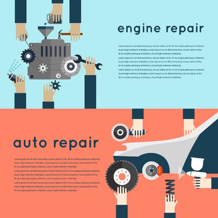 mantenimiento: Servicio de auto. Reparación Mecánico auto de máquinas y equipos. Manos que sostienen las herramientas. Diagnóstico de automóviles. Ilustración vectorial y los iconos planos. 2 banderas. Vectores