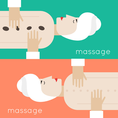 woman lying down: Woman getting massage lying down. Spa procedure. Spa salon. Vector flat design. 2 banner.