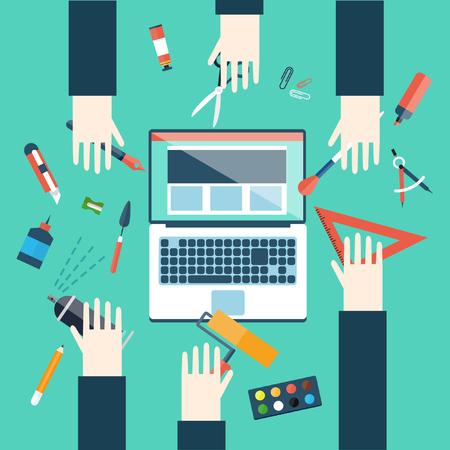 management concept: Graphic design and web design development concepts. Flat style vector illustration.