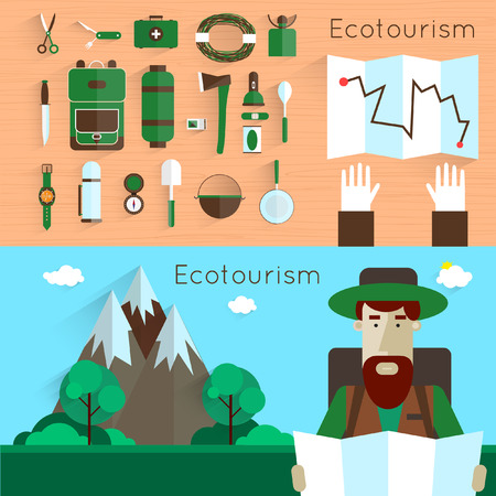 man hiking: Man holding a map. Camping and hiking equipment elements. Landscape with mountains. Colorful vector flat design. Set icons.