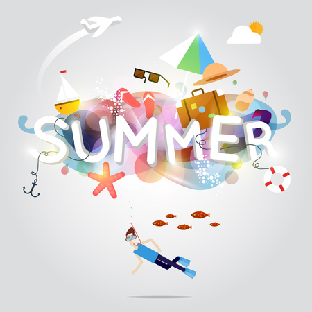 vector illustration: Summer poster. Holidays. Summer beach party. Design template with place for text. Illustration