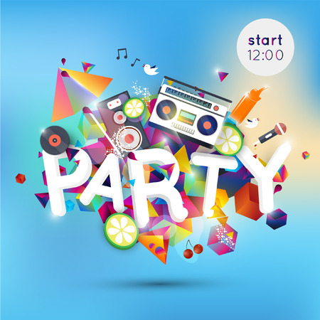 party design: Lounge bar party poster. Cocktails party background. Summer poster. All Night Party design template with place for text.