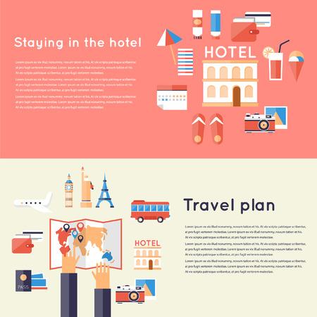 휴가 여행을 계획. 호텔 여행 숙박 시설을 제공합니다. 2 여행 배너입니다. 호텔 예약. 플랫 디자인 벡터 일러스트 레이 션. 일러스트