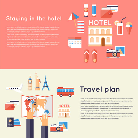 Planning vacation trip. Hotel travel accommodation. 2 travel banners. Hotel booking. Flat design vector illustration. Иллюстрация