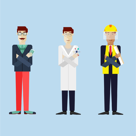 to a scientist: Men in different professions with working tools. Hipster, scientist Asian, engineer dark skin. Set of vector illustration in modern flat style.