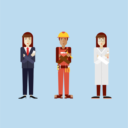 biologist: Women in different professions with working tools. Biologist asian, construction worker dark skin, business woman. Set of vector illustration in modern flat style. Illustration