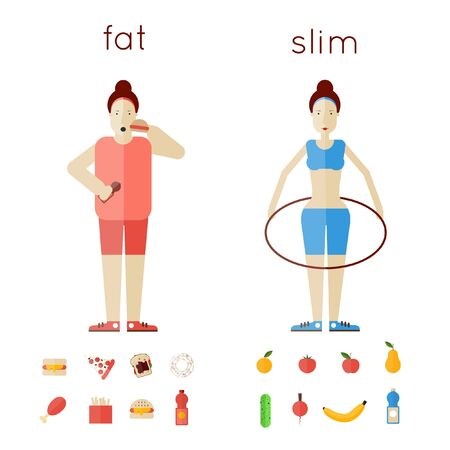 glutton: A pair of women thick and thin. Fast food. Sports Health. Healthy life. Illustration