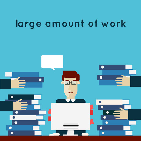 multitasking: Overworked businessman. Busy office worker with lots of papers. Flat design vector illustration. Illustration