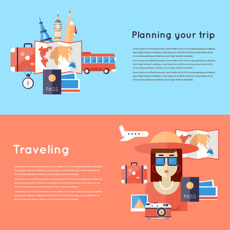World Travel. Planning summer vacations. Woman travailing. 2 travel banners with place for text. Flat design vector illustration. Ilustração