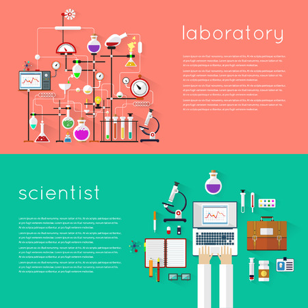pharmacy equipment: Laboratory workspace and science equipment concept. Chemistry, physics, biology. 2 banners with place for text. Flat design vector illustration. Illustration
