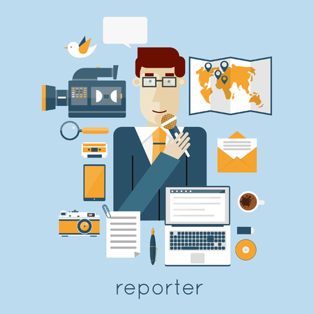 newsreader: News anchor, paparazzi profession. Breaking news. Live broadcast, photo, camera, interview, map, microphone. Web elements. Flat vector illustration. Illustration