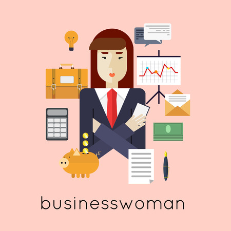 tired: Businesswoman. Flat design vector illustrations.