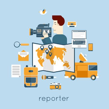 broadcast: Journalist, paparazzi profession. Live broadcast, photo, camera, interview, map, van, microphone, operator. Web elements. Flat vector illustration.