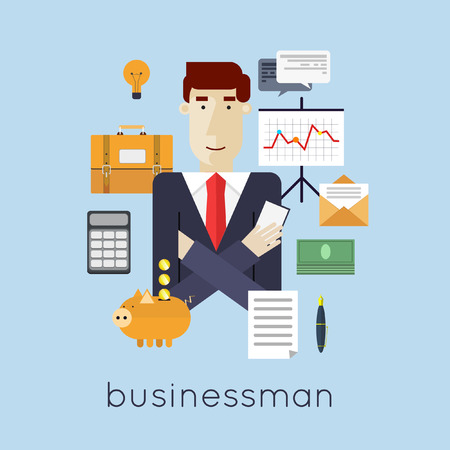 Successful businessman character with set of icons vector illustration .. Flat design vector illustration.