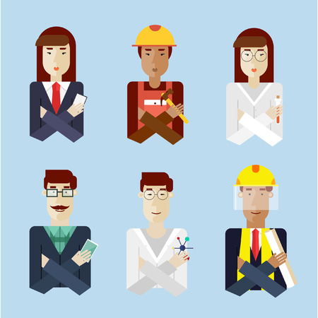 scientist man: People portraits in different professions. Men lumberjack, Asian scientist, engineer dark skin, hipster. Woman biologist, construction worker dark skin, business woman. Vector illustration flat style.