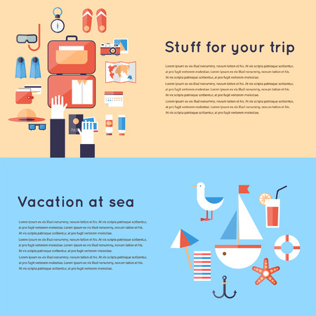 Planning vacation trip. Hotel travel accommodation. 2 travel banners. Hotel booking. Flat design vector illustration. Illusztráció
