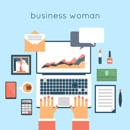 laptop vector: Business woman desktop. Hands on laptop. Top view. Flat design vector illustration.