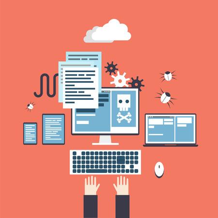 criminal activity: Hacker activity. Hands on keyboard. Computer crime, e-mail spam, viruses hacking. Process coding and html programming. Flat design vector illustration.