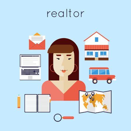 agent: Realtor with house. Real estate agent. Female seller. Buy, sell, rent, money, savings, interest, mortgage. Flat design vector illustration.