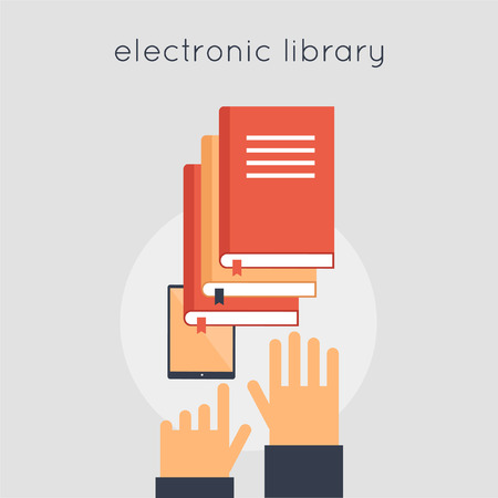 magazine stack: Electronic Library. E-book. Favorite book. Choose a book. Hands and e-book. Vector illustration in flat style.
