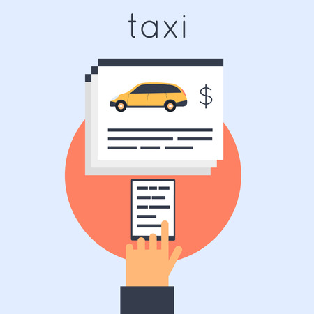 get in touch: Taxi from the phone. Flat design vector illustration.