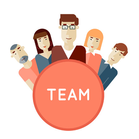 크리에이티브 팀. 사람들의 그룹입니다. 팀워크. 브레인 스토밍. 텍스트에 대 한 장소 포스터. 벡터 일러스트 레이 션. 플랫 디자인. 일러스트
