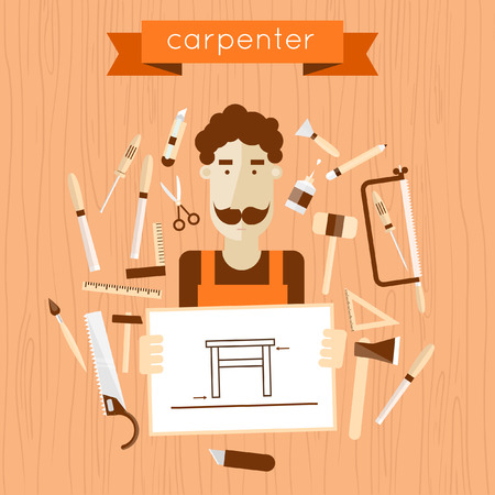 tree texture: Carpenter character holding the drawing. Carpentry, woodworker, joinery, workplace. Construction hand tools. Tree texture background. Vector flat illustration with place for text.