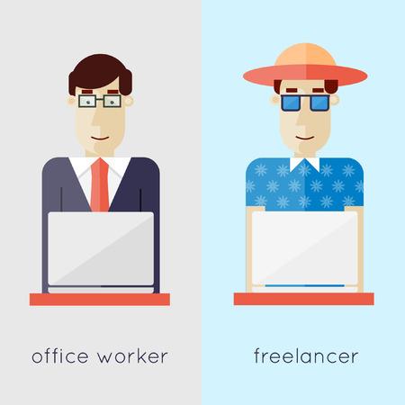 Freelancer e ufficio lavoratore. Lavoro d'ufficio. Appartamento di design illustrazione vettoriale.