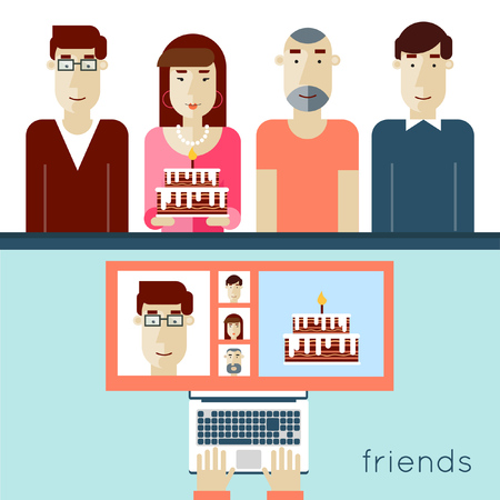 came: Network friendship, modern life concept. Celebrating birthday with friends in social networks. Friends came to celebrate birthday party with cake. 2 banners. Vector illustrations in modern flat style. Illustration