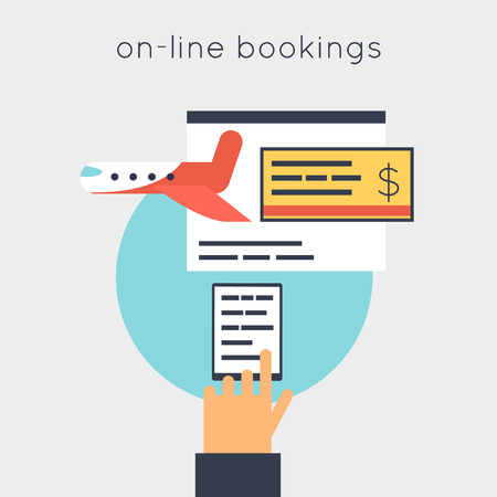 reservation: On-line ticket reservation plane. Flat design vector illustrations.