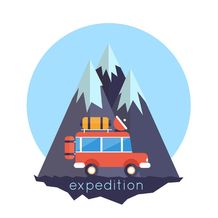 mountain road: An illustration of off-road car on mountain road. Investigation untouched corners of nature. Hiking, travel, expedition. Travel by land. Outdoor Adventure. Vector illustration. Flat style. Illustration