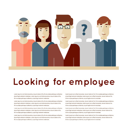 job search: Search employee for team. Looking for an employee. Find candidate. Finding professional staff. Human resources management. Flat design vector illustration.