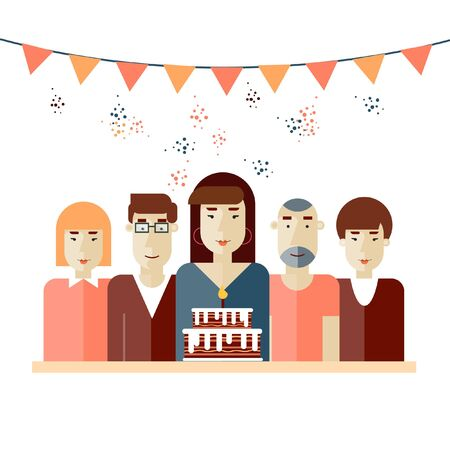 birthday candles: Illustration of family with Birthday cake. A group of people came to celebrate birthday party. Birthday card with people, B-day cake, flags and confetti. Vector illustration in modern flat style. Illustration