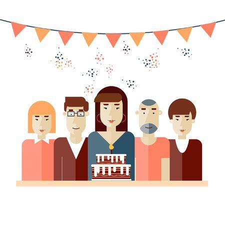 pasteles de cumplea�os: Ilustraci�n de la familia con la torta de cumplea�os. Un grupo de gente vino a celebrar la fiesta de cumplea�os. Tarjeta de cumplea�os con la gente, torta B-d�a, banderas y confeti. Ilustraci�n vectorial en estilo moderno apartamento.