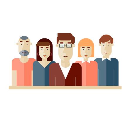 創造的なチーム。人々 のグループ。チームワーク。ブレーンストーミング。テキストのための場所のポスター。ベクトルの図。フラットなデザイン