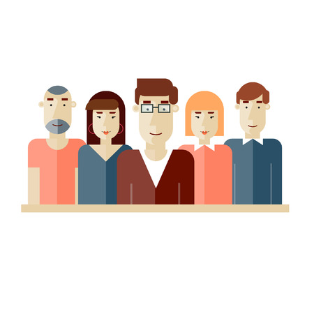 Creative team. Group of people. Teamwork. Brainstorming. Poster with place for text. Vector illustration. Flat design.