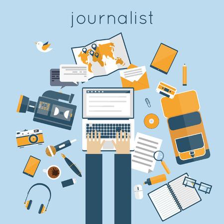espacio de trabajo: El periodista, profesi�n paparazzi. Espacio de trabajo Periodista con herramientas y dispositivos. Espacio de trabajo de oficina. La emisi�n en directo, foto, c�mara, entrevista, mapa, micr�fono, operador. Ilustraci�n vectorial Flat.