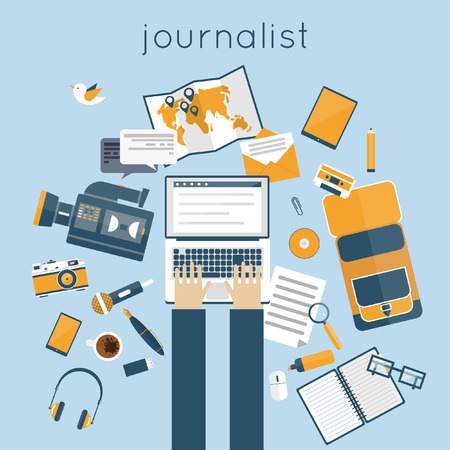 journalism: Journalist, paparazzi profession. Journalist workspace with tools and devices. Office workspace. Live broadcast, photo, camera, interview, map, microphone, operator. Flat vector illustration.