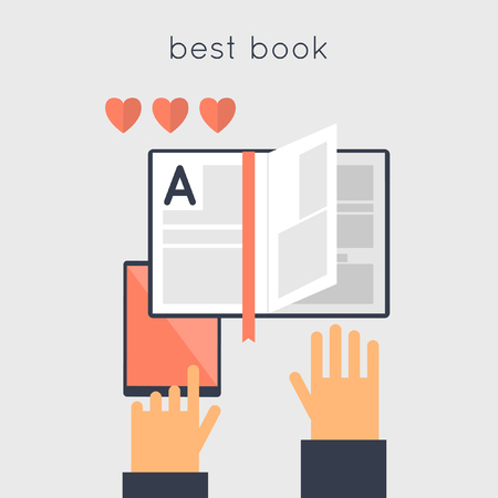 choise: E-book best choise. Favorite book. Recommended books. Hands and e-book. Vector illustration in flat style.