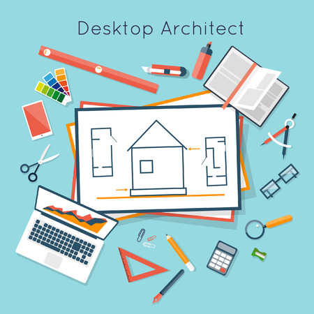 architecture: Construction planning process flat design. Architects workplace. Architecture planning on paper top view. Architectural project, architectural plan, technical project. Engineering for building houses.