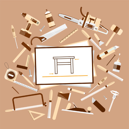 tools: Carpentry. Construction hardware tools. Tree texture background. Woodworker table with tools and sketches, top view. Vector color flat illustrations. Illustration