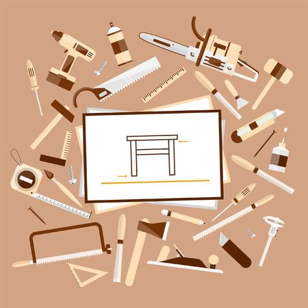 tool: Tischlerei. Bau-Hardware-Tools. Baum Textur Hintergrund. Woodworker-Tabelle mit Werkzeugen und Skizzen, Ansicht von oben. Vector Farbe Flach Abbildungen.