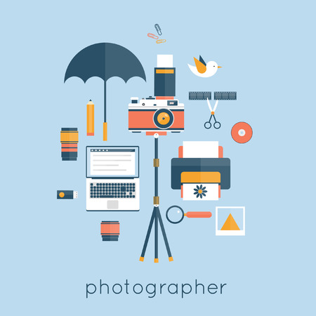 tripods: Photographer. Workspace with camera, computer, umbrella, film, book, lens, photo, coffee, tripod. Flat design vector illustration. Illustration